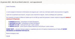 26 gennaio 2020 - Alta Via sei Monti Lattari (E) - orari appuntamenti